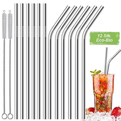 LessMo 12 STK. Edelstahlstrohhalme, Wiederverwendbare Metallstrohhalme mit 2 Reinigungsbürsten für Smoothie, Milchshake, Cocktail und Heißgetränk (Strohhalme Edelstahl)
