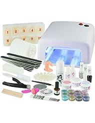 UV Gel Nagelstudio Starter Set Weiß-Nagelset mit Nailart, UV Lampe und UV Gel ideales Starterset