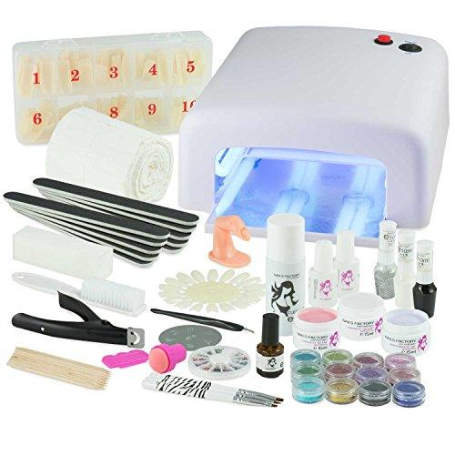 #UV Gel Nagelstudio Starter Set Weiß-Nagelset mit Nailart, UV Lampe und UV Gel ideales Starterset#