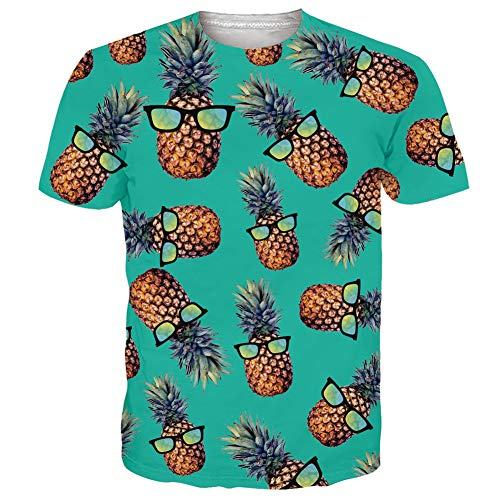 RAISEVERN Männer/Frauen 3D T-Shirts Print Ananas Mit Brille Grafik Unisex Kurzarm für Fruits Theme Parties