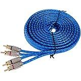 MagiDeal Câble RCA 5m de Haut Parleur Amplificateur Stéréo Audio de Voiture Bleu