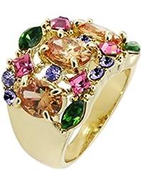 Yoursfs anillo brillantes mujer tres veces chapado en oro rosa zircones multicolores para mujeres