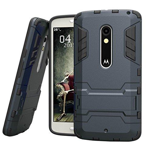 Hülle für Motorola Moto X Play (5,5 Zoll) 2 in 1 Hybrid Dual Layer Shell Armor Schutzhülle mit Standfunktion Case (Blau Schwarz)