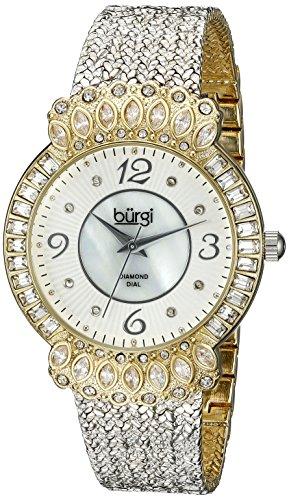 Burgi Femme Montre à quartz avec Mother of Pearl cadran affichage analogique et bracelet en métal argent bur120ssg