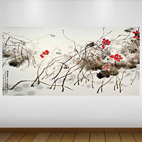 LagunaProject Extra Grande Rojo Japón Flores asiáticas abstractas del Vinilo Póster - Mural Decoración - Etiqueta de la Pared -140cm x 70cm