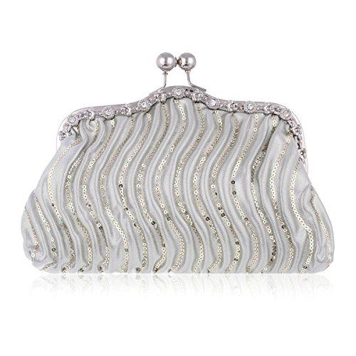 Damara® Damen Chic Sequin Bankett Clutch Umhängetaschen Silber