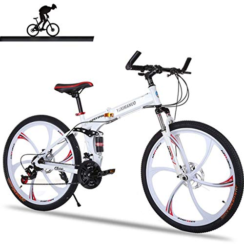NZ-Children's bicycles Full Suspension Mountainbike Aluminiumrahmen 21-Gang 26-Zoll-Fahrrad, Weiß -