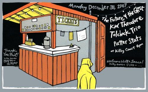 Phils letzten Kilby zeigen, 31/12/07Limited Edition Siebdruck Print Music Poster von Leia Bell Original unterschrieben und nummeriert mit: tolchock Trio, Zukunft der Ghost, Kid Theodore Stats