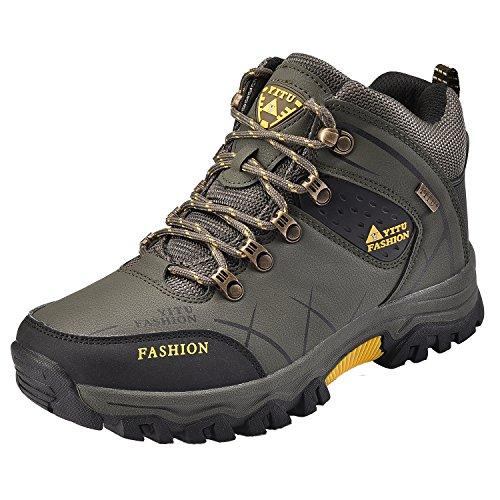 NEOKER Hombre Botas de Trekking y Senderismo Impermeables Aire Libre y Deportes Exterior Montaña Zapatos Ejército Verde 42
