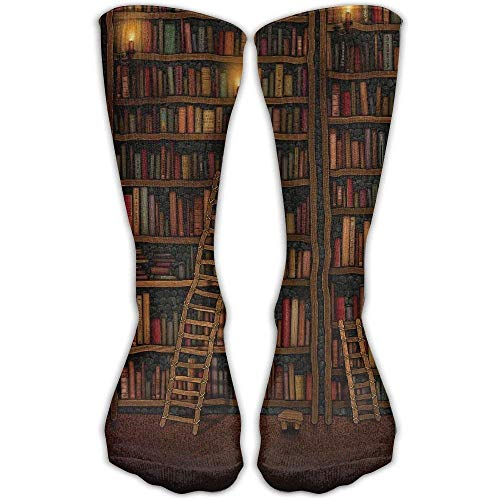 Unisex Casual Crew Socks Bibliothek Bücherregal Vintage Fashion Neuheit Socken -