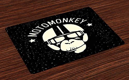 ABAKUHAUS Weltraum Platzmatten, Zeichen Alien Monkey mit Astronaut Kostüm in Einer Galaxie mit Sternen Poster, Tiscjdeco aus Farbfesten Stoff für das Esszimmer und Küch, Weiß und Schwarz
