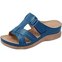 Mules Femmes Sandales Sabots Chaussons Chaussures en Cuir Mules à Plateforme Talon compensé Bout Ouvert Plage Vacances…