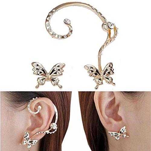 Damen Ohrringe Schmuck Ohrstecker stecker DAY.LIN Neue Mode Kristall Schönheit Frauen Schmetterling Manschette Ohrclip (Geldbörse Swarovski-kristall-leder-handtasche)
