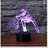 Nachtlicht 3D Trickster Tischlampe Nacht Dekor Fahrrad Begrenzung Bewegung Nachtlicht Led 7 Farben Ändern Baby Schlafen Beleuchtung Geschenke