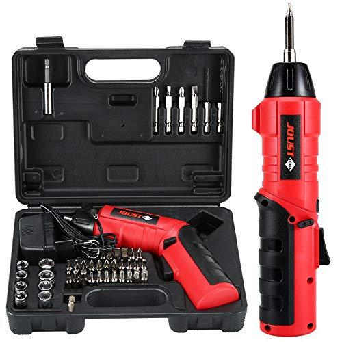 Visseuse Sans Fil Mini Tournevis Rose 4.8V Electrique sans Fil avec 600mAh Lithium-ion Batterie, 45 Pièces Tourvenis et Assortiment de Foret de Bois (Red)