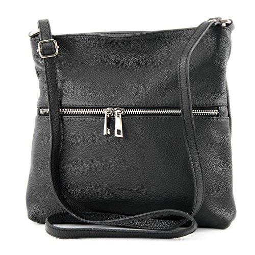 Schwarz Leder Tasche-tag (modamoda de - ital Umhänge-/Schultertasche aus Leder T144, Schwarz, siehe Beschreibung)