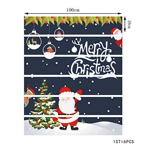 Tür Selbstklebende Tür Wandbilder Aufkleber Wand Abziehbild Weihnachten Weihnachtsmann Baum Wohnzimmer Korridor Vinyl Wasserdicht Klebrige Treppe Dekoration 18X100 Cm 6 Teile / Sa ()