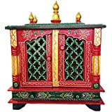 pranjals house Wooden Pooja Temple/mandir with Magnetic Door for Home & Office size-18x9x22 inch (Red & Green)