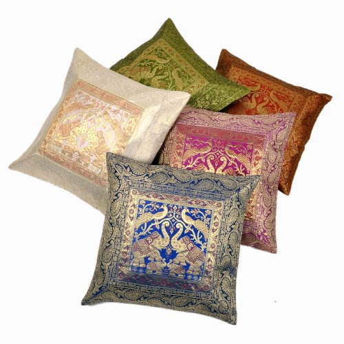 Little India Zari Hand Embroidery Work Silk 5 Piece Cushion Cover Set - Multicolor  (DLI3CUS446)