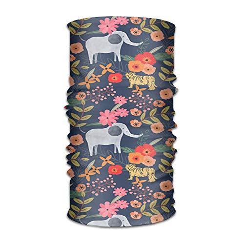 Elefantes y flores unisex deportes variedad bufanda cabeza bufanda