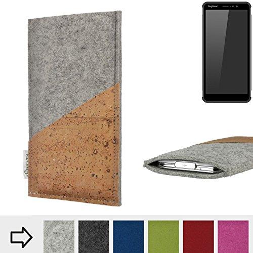 flat.design Handytasche Evora mit Korktasche für Ruggear RG850 - Schutz Case Etui Filz Made in Germany in hellgrau mit Korkstoff - passgenaue Handy Hülle für Ruggear RG850