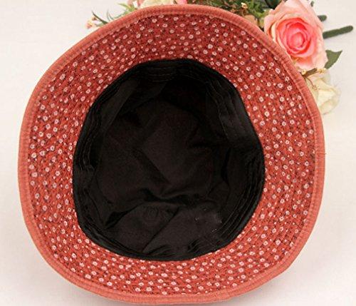 TGLOE Femelle Dernier Désinvolte Soleil Bob Frais Charmant Floral Coton De Plein Air Pêcheur Pots Bob Rouge