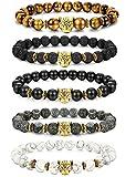 sailimue 5 Pcs 8mm Perle Bracelet Pierre Homme Femme Unisexe Pierre volcanique Bracelet Oeil de Tigre Tête de Léopard Elastique