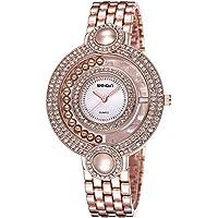 WEIQIN Double Rhinestone Case Beauty Bracelet Quartz Women Watch (Rose gold White)