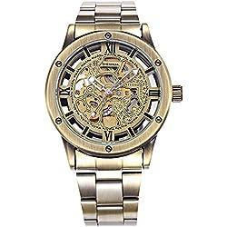 Alienwork Retro Automatic Watch Self-winding Skeleton Mechanical vintage Metal bronze brown bronze brown W9397-03