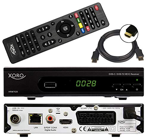 Digital Cable Ready, Hdtv (netshop 25 Xoro HRM 7620 Full HD Kombi Receiver DVB-T/T2/C Kabel und DVB-T2 (HEVC, HDTV, HDMI, SCART, Mediaplayer, USB 2.0, LAN, PVR Ready = USB TV Aufnahme) + 1,5m HDMI Kabel)