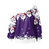 SEWORLD Heißer Einzigartiges Design Mode Damen Frauen Frohe Weihnachten Langarm Weihnachtsmann Drucken Skew Kragen Sweatshirt Bluse(W1-violett,EU-34/CN-M)