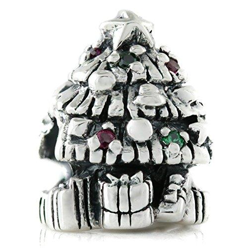 Bella fascini Weihnachtsbaum CZ Lights Charm Bead Sterling Silber Passt kompatibel Armbänder und Armreif