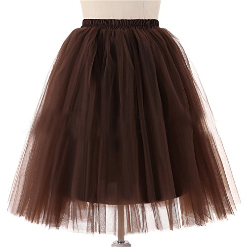 Honeystore Damen's 5 Layer Knielanger Rock Elastic Bund Tutu Prinzessin Tütü Tutu Petticoat Ballettrock One Size Kaffeebraun (Diy Disney Prinzessin Kostüme)