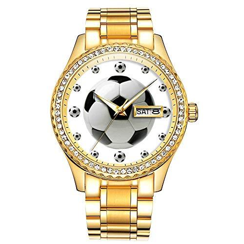 Diamantvergoldete Uhr Luminous Luxury Waterproof Einzigartige Gold-Armbanduhr 381.Soccer Ball White Sporty Watch (Ball-uhren Für Männer)