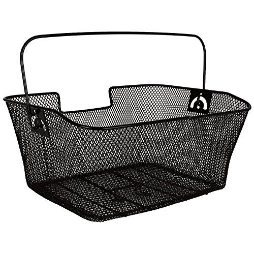 Fahrradkorb mit Tragebügel mit Farbauswahl - Gepäckträgerkorb - Fahrradkorb hinten (schwarz)