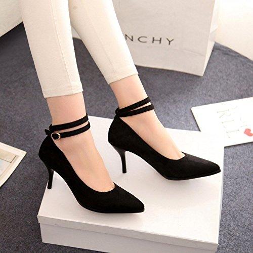 zz&Y Calzature donna elegante e versatile ad alta scarpe tacco scarpe da lavoro,Nero,35