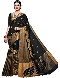 Dharmi Enterprise Black And Gold Cotton Silk With Blouse Piece Women's Saree (saree 700, Saree 50 Discount)