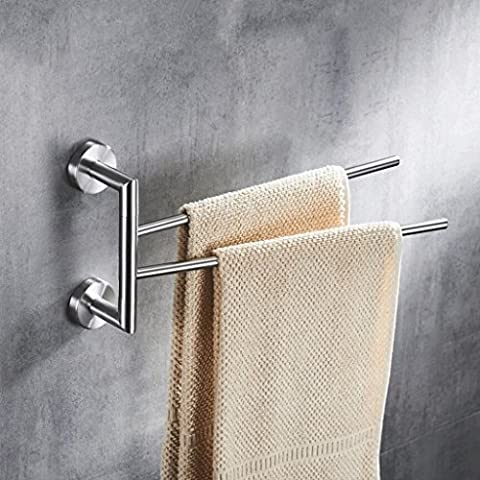 YHJ Towel rack Stainless Steel Movable Towel Bar Rotatable Towel