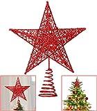 Lodou, Puntale per Albero di Natale, a Forma di Stella a 5 Punte, con Brillantini, 20,3 cm, per Decorare L'Albero di Natale e Le Feste Rosso.