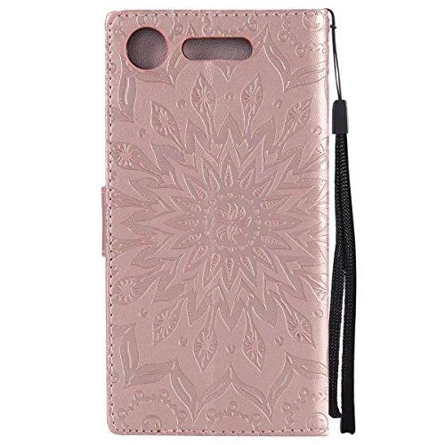 LEMORRY Sony Xperia XZ1 / F8342 Custodia Pelle Cuoio Flip Portafoglio Borsa Sottile Bumper Protettivo Magnetico Morbido Silicone TPU Cover Custodia per Sony Xperia XZ1 / F8342, Fiorire (Rosa) Oro rosa