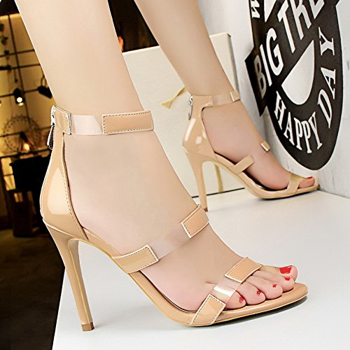 LGK&FA Un Simple Bouton Percé Orteil DUn Amende Rome Tous-Match Female High-Heeled Sandals 36 naked color