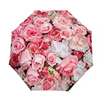 Funnyy Automatic Folding Umbrella Flower Floral Rose Print Pink Auto Open Compact Portable Umbrella for Girls Boys Women