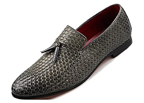 YOSICIL Men's Casual Tassels Loafers Leather Slip-On Weave
