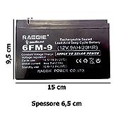 DOBO Batteria ermetica al piombo manutenzione 12V 9Ah di tipo non spillable senza manutenzione, attacchi faston - 150 X 66 X 95mm