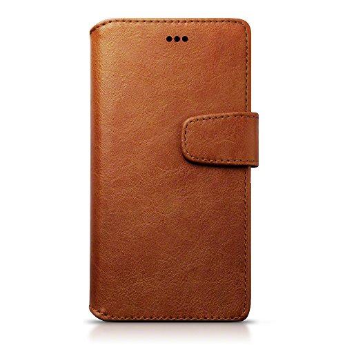 Huawei P9 Case, Terrapin Leder Brieftasche Case Hülle mit Standfunktion Kartenfächer für Huawei P9 Hülle Cognac