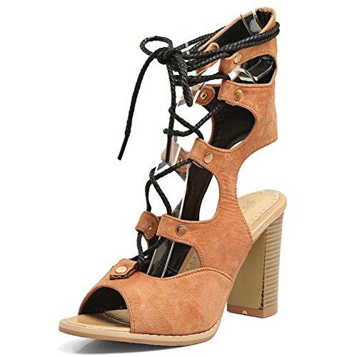 COOLCEPT Femmes Mode Party Chaussures Dentelle Half Bootie Sandales Bloc Talons hautss Jaune