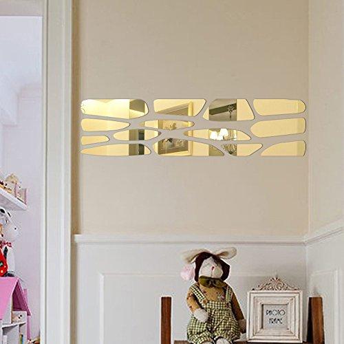 Spiegel 3D Wandaufkleber Kreise Wandsticker Wandtatoo Spiegel Wanddeko Wandkunst Selbstklebend Abnehmbar für Schlafzimmer, Wohnzimmer, Haus Deko (Gold) (Kuchen Kreise Gold)