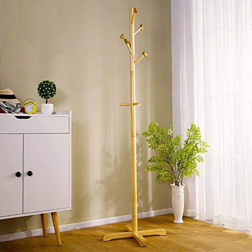 IAIZI Cleo Wooden Coat Tree Regalständer MIT 8 Haken - Massivholz (Color : C) - Coat Tree