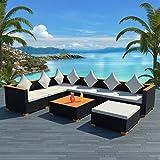 Tuduo Garten-Lounge-Set 22-tlg. Poly Rattan WPC Gartengarnitur Schwarz