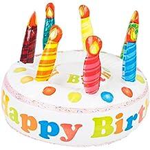 Out of the Blue Happy Birthday Torta Gonfiabile, Plastica, Bianco, 16x13x2.5 cm, 1 Unità